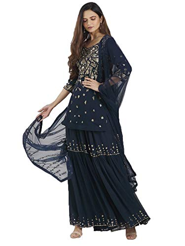 Sequin Embellished Designer Ethnic Georgette ready to Wear Short Kurti Sharara Suit Indian Women PARTY dress ok (blue, 10)