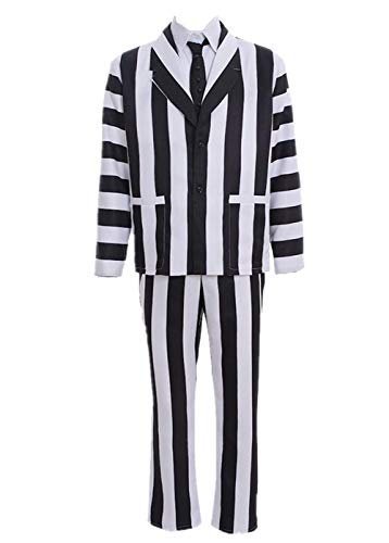 Black White Stripe Costume Halloween Cosplay Tie Shirt Coat Pants Full Set M