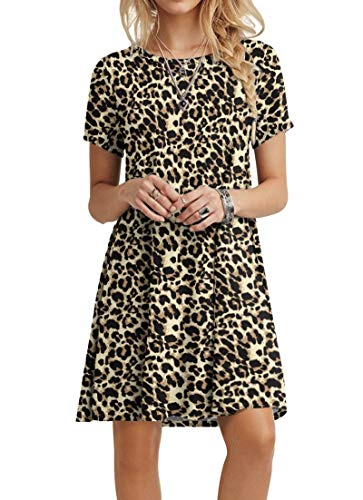 POPYOUNG Women's Summer Casual Tshirt Dresses Beach Dress Large, Spotted Pattern Leopard