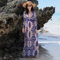 WFFF Embroidered Lace Dress Seaside Holiday Beach Skirt Cover Meat Prom Long Skirt A-Line Apron,Blue,XXL