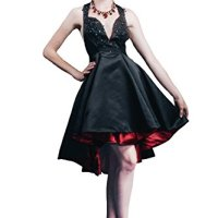Saint Toi A-Line Open Back Satin Homecoming Dress with Beading Sequins FH-009 Black