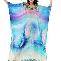 Silk kaftan Waves on You!!! Encouraged by Oceanic Sea Shore Printed Long Beach Maxi 321