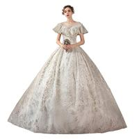 Lwlei Women's Wedding Dress Vintage Sexy Sequin Lace Bridal Gowns Formal Wedding Bride Dresses Ball Long Gown Pretty Gown (Color : White-Floor Length, Size : Medium)