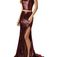 Women's Mermaid Prom Dresses Two Pieces Sequined Evening Formal Gowns with Slit Burgundy,16