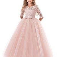 NNJXD Girls Pageant Embroidery Ball Gown Princess Wedding Dress Size (130) 5-6 Years Pink