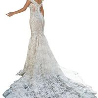 Mermaid Wedding Dress Off The Shoulder Floral Sequins Bridal Gowns with Long Train White