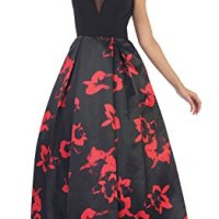US Fairytailes Printed A-Line Satin Dress #7450 (6, Black/Red)