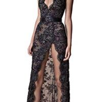 Fenghuavip Illusion Prom Dress Lace Applique Sequins Deep V Neck Evening Gowns with Belt Black