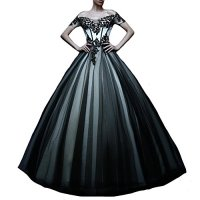 Kivary Off Shoulder White and Black Tulle Gothic Lace Vintage Prom Dresses Wedding Gowns US 14