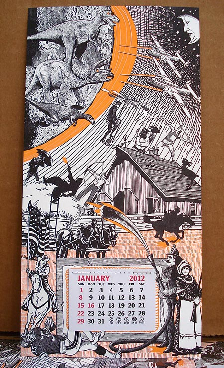 Meteor Strike 2012 letterpress calendar by Oddball Press