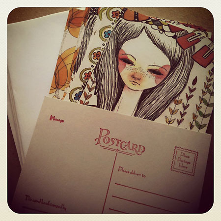 Folksy Girls of Spring Summer and Autumn Postcard Collection from Inking Cap
