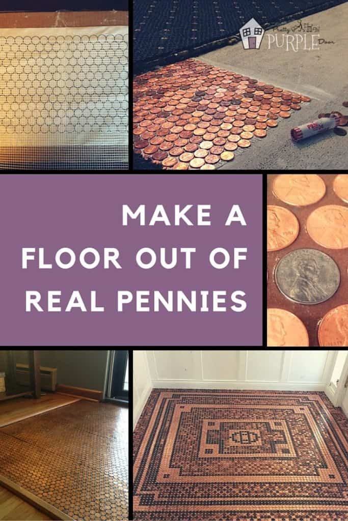 make a floor out of real pennies step