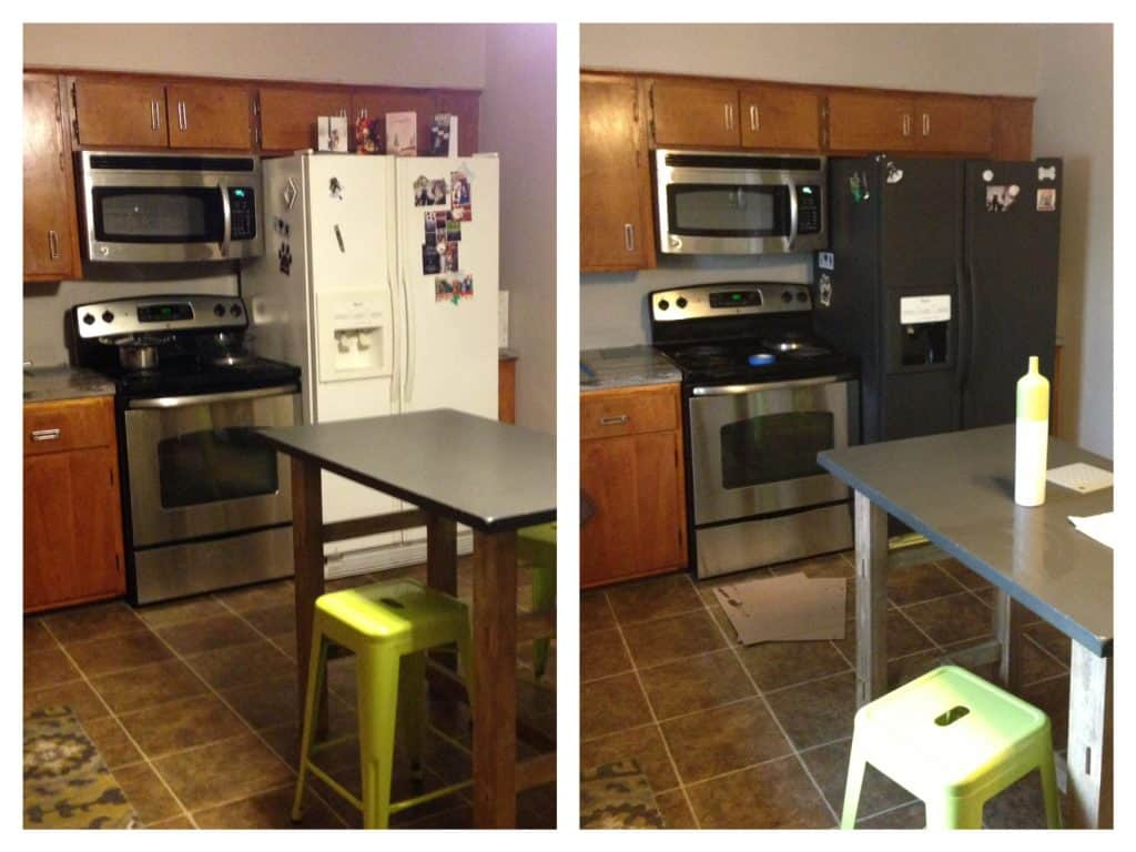 Chalkboard Refrigerator before & after