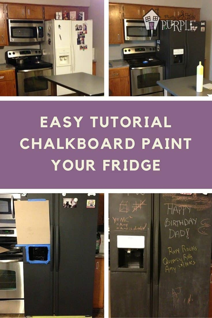 chalkboard refrigerator tutorial - paint your fridge with chalkboard paint (Pinterest Image)