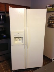 Chalkboard Refrigerator, before painting