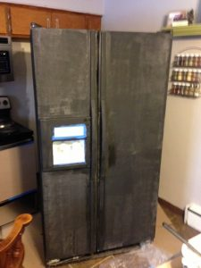Chalkboard Refrigerator after magnetic primer