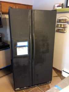 Chalkboard Refrigerator after 2 coats of magnetic primer