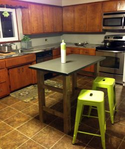 My new kitchen island and green stools