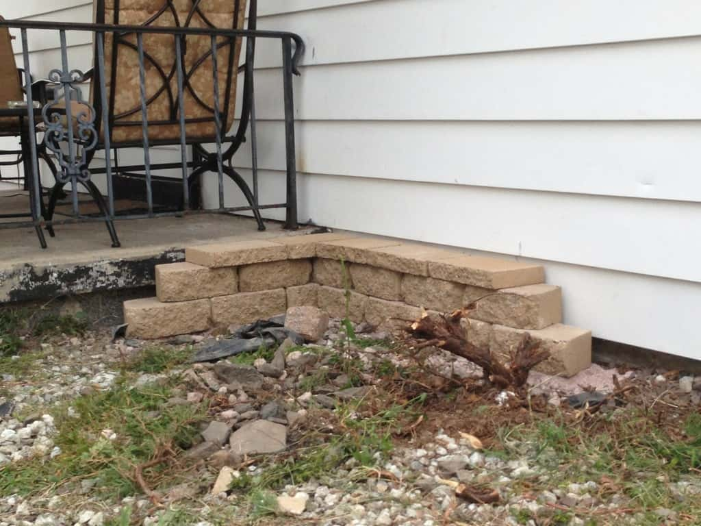 stone edging in back yard