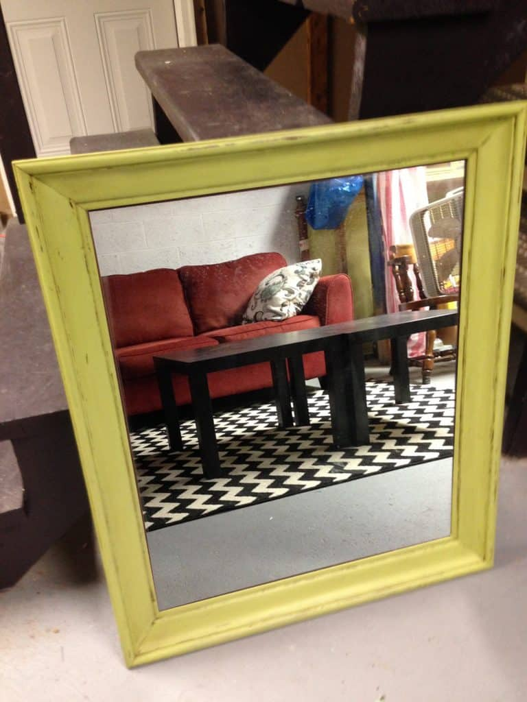 Here's the full chalk painted mirror.