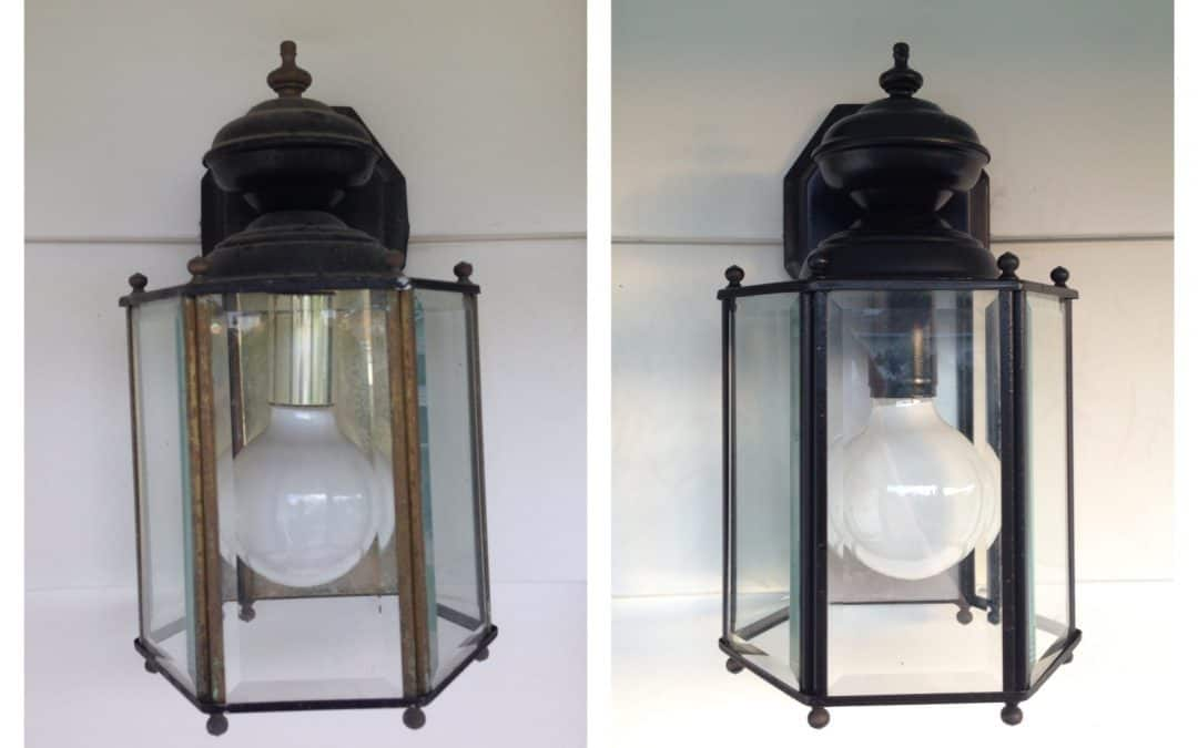 Easy porch sconce makeover with spray paint