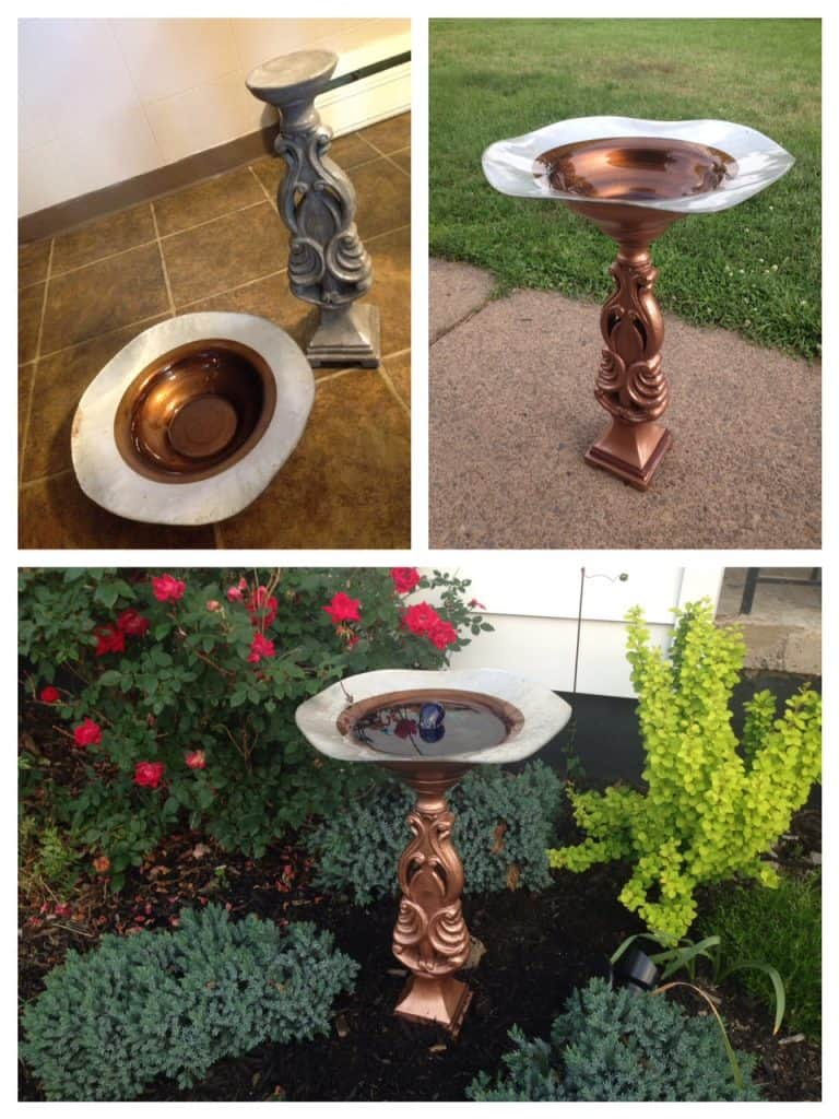solar birdbath fountain collage