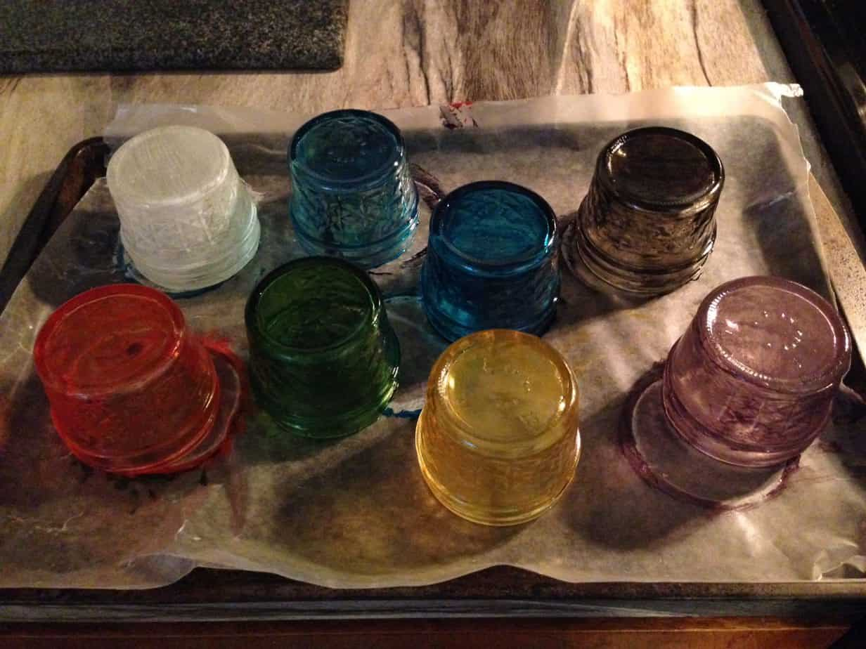 Paint Mason Jars with Glass Paint - Baking in oven at 325 degrees
