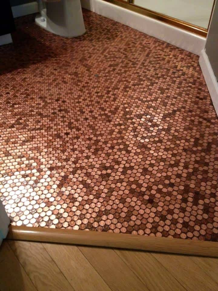 Brandon's penny bathroom floor