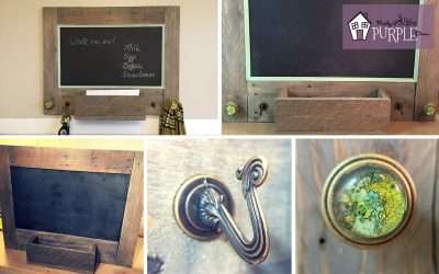 message center with hooks and chalkboard