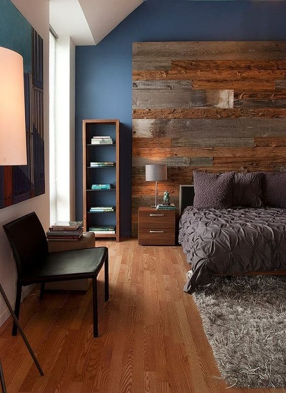 Navy Blue Walls with Reclaimed Wood Headboard