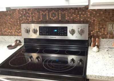 Patti's penny backsplash commemorates her mom