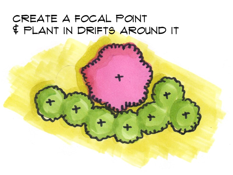 create a focal point and arrange plants around it