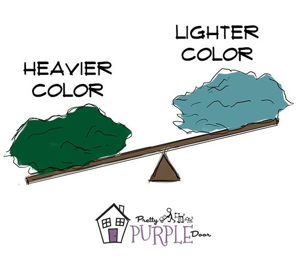 Darker colors have a heavier visual weight than lighter colors