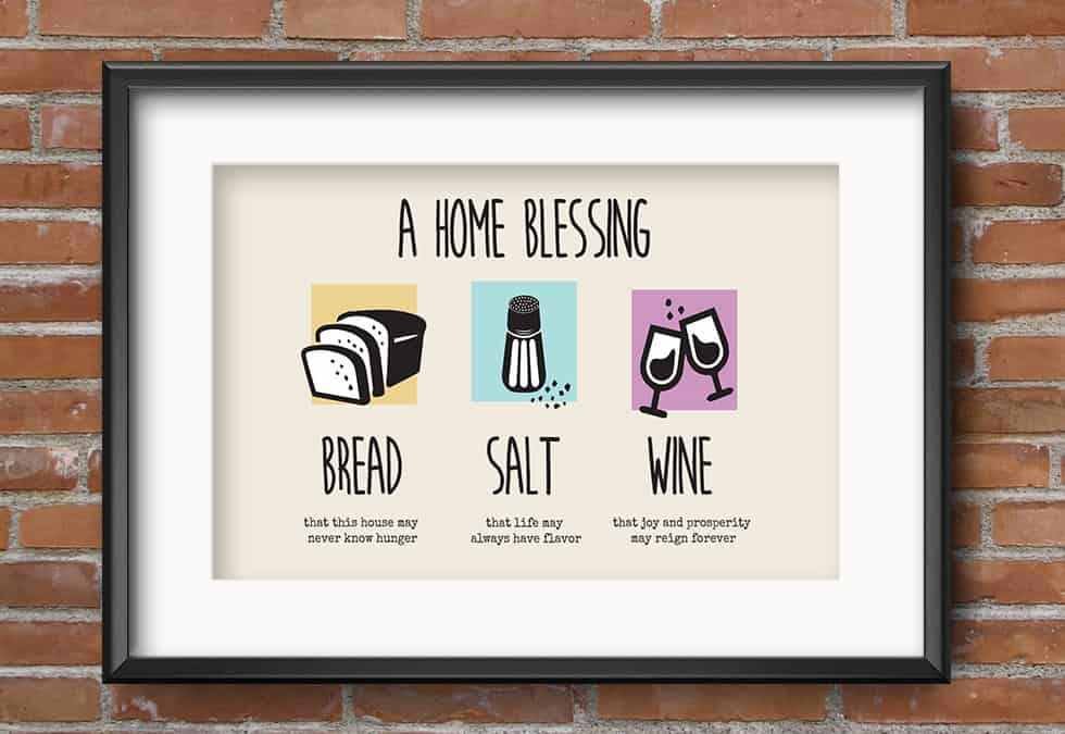 Iconic Bread Salt Wine Printable Housewarming Gift,