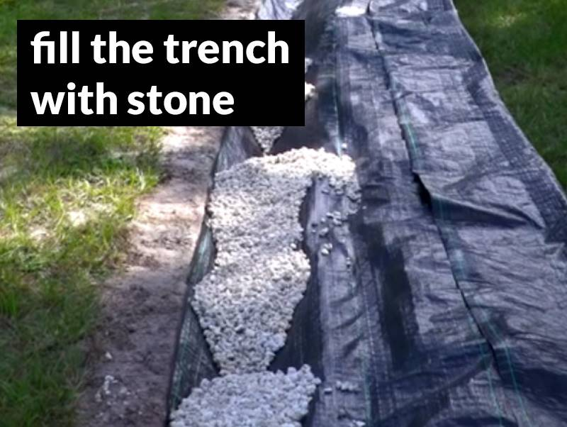 Fill the french drain trench with stone