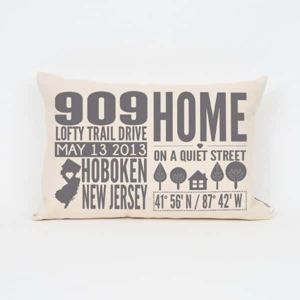 Address Throw Pillow Housewarming Gift