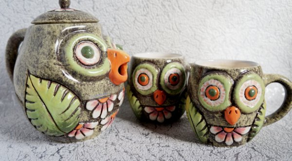 Ceramic Owl Tea Set Housewarming Gift