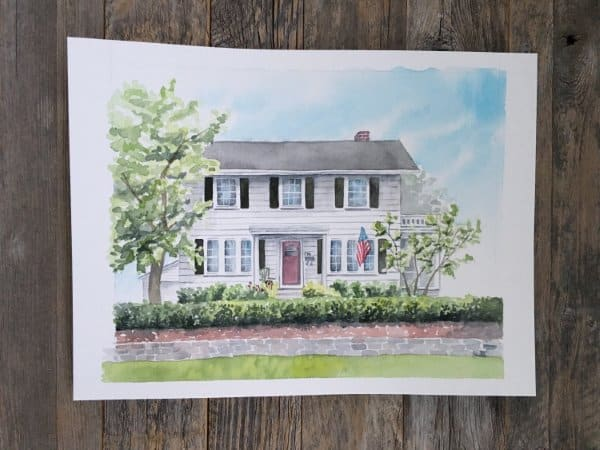 Custom Watercolor House Painting Housewarming Gift