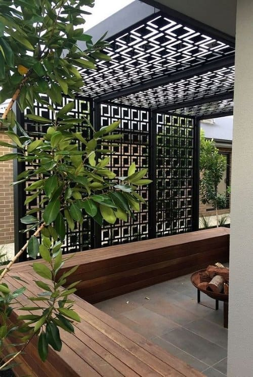 Metal fence panels to enclose your space and hide it from the neighbors view