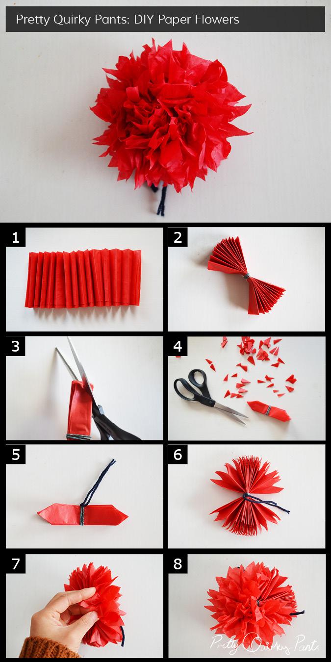 making flower using crepe paper