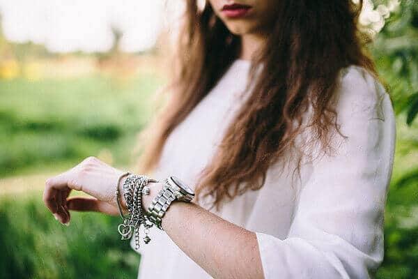 Sliver stylish watch with silver chain bracelets