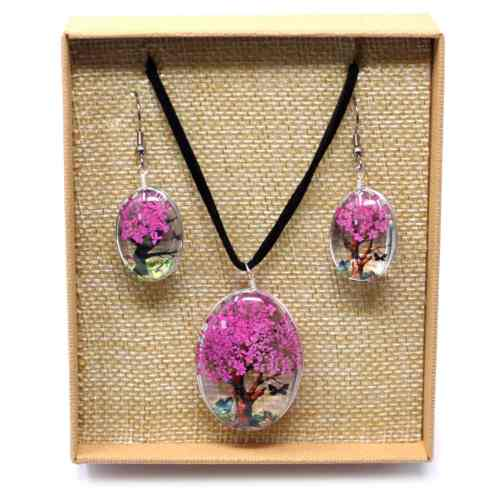bright pink pressed flower necklace set