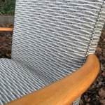 Mid Century Blonde Wood Vintage Chair Charcoal Taupe