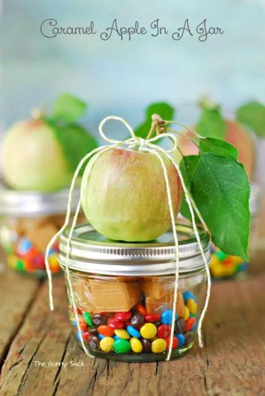 kids thanksgiving party ideas caramel apple in a jar