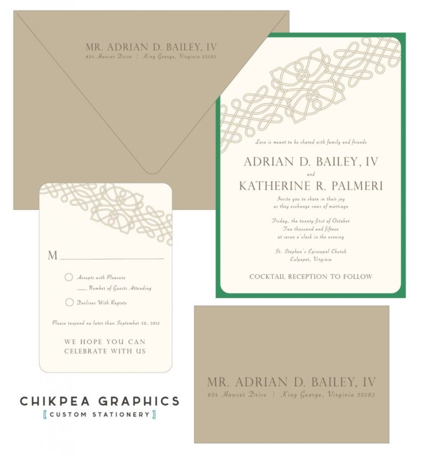 I Love The Spare Simple Lines Of This Celtic Knot Wedding Invitation In Green And