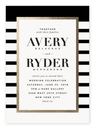 Bold Modern Black And Gold Wedding Invitations From Minted