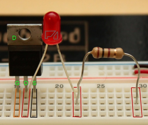 Three Red Leds In Parallel On Breadboard