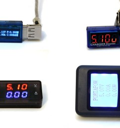 four usb volt meters [ 1200 x 724 Pixel ]