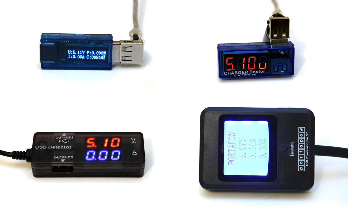 hight resolution of four usb volt meters
