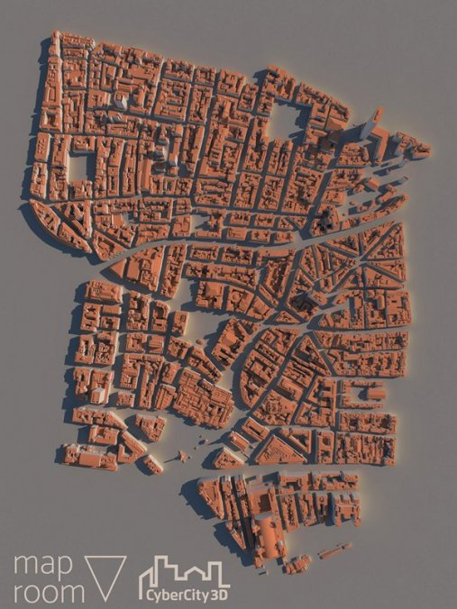 Map with CyberCity 3D buildings in London. This sample area ships with Maproom for free.